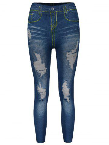 Outfit Stylish Bleach Wash Hole Jean Legging For Women