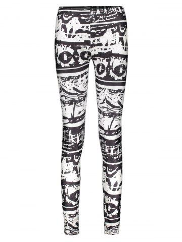 Shop Casual Abstract Printed Bodycon Leggings For Women WHITE/BLACK L