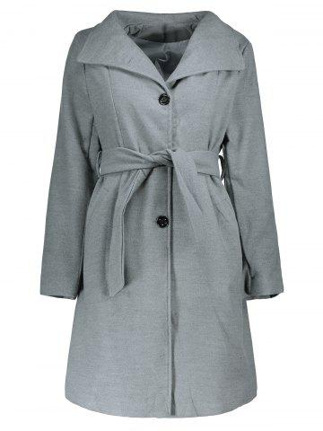 Stylish Stand Collar Long Sleeve Pure Color Self-Tie Coat For Women - Gray - M