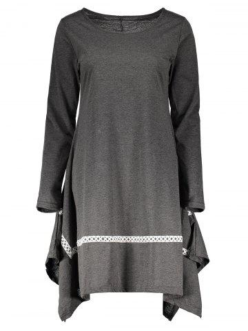 Sale Stylish Round Neck Long Sleeve Spliced Asymmetrical Women's Dress GRAY M