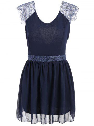 Trendy Style Sleeveless Lace Splicing Solid Color Backless Women's Dress - Blue - Xl