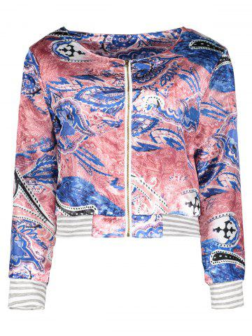 Affordable Ethnic Scoop Neck Long Sleeve Print Loose-Fitting Jacket For Women