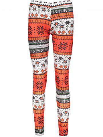 Chic Stylish Elastic Waist Slimming Printed Women's Christmas Leggings MULTICOLOR ONE SIZE(FIT SIZE XS TO M)