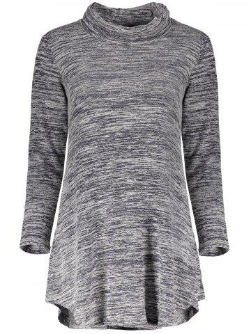 Chic Cowl Neck Long Sleeve Asymmetrical Women's Knitted Dress - Gray - M