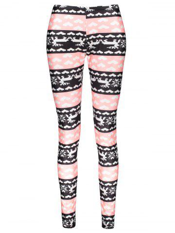 Latest Fashionable High Waist Color Block Heart Printed Bodycon Leggings For Women COLORMIX L