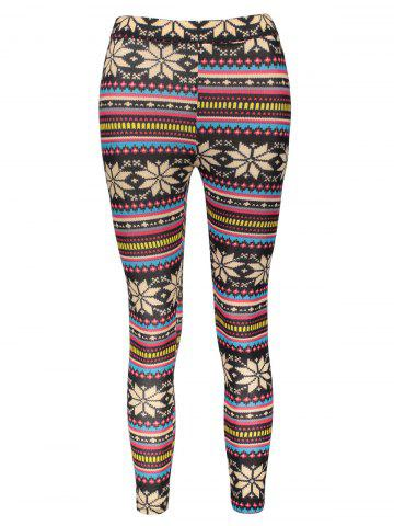 Sale Vintage Colorful Snowflake Printed Bodycon Leggings For Women