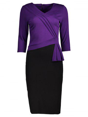 Best Two Tone Pleated Back Slit Pencil Dress BLACK AND PURPLE L
