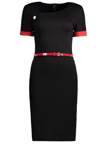 Fancy Two Tone Belted Fitted Work Dress BLACK L