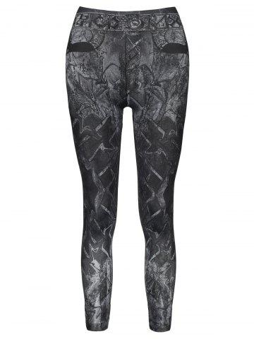 Outfit Casual Slimming Mid-Waisted Tattoo Graffiti Print Women's Jean Leggings BLACK ONE SIZE