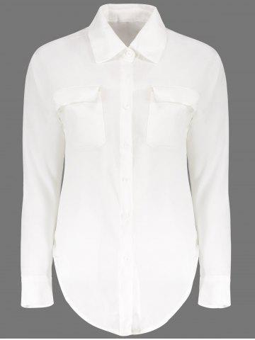 Loose Long Sleeeve Turn Down Collar Solid Color Women's Blouse - White - One Size