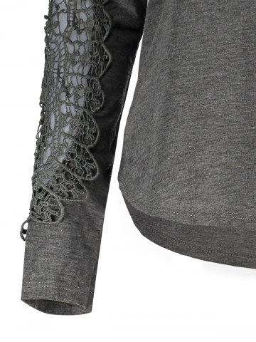 Latest Casual Scoop Neck Lace Splicing Long Sleeve T-Shirt For Women - DEEP GRAY L Mobile