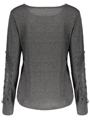 Trendy Casual Scoop Neck Lace Splicing Long Sleeve T-Shirt For Women - S DEEP GRAY Mobile