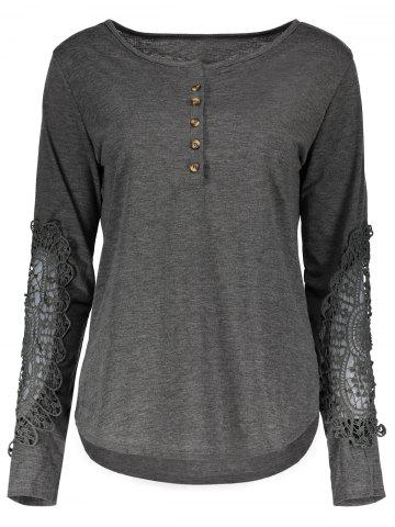 Fancy Casual Scoop Neck Lace Splicing Long Sleeve T-Shirt For Women - S DEEP GRAY Mobile