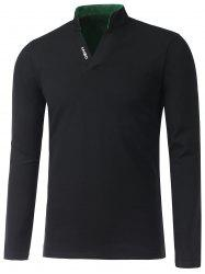 Stand Collar Long Sleeve Cotton Polo Shirt - BLACK