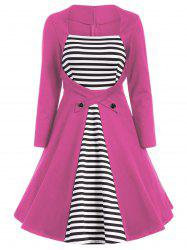 Plus Size Square Collar Striped Skater Dress with Long Sleeves -