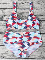 Geometric Pattern High Waisted Bikini Set