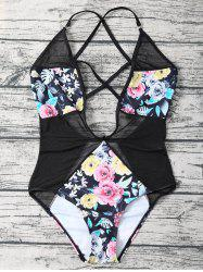 Low Cut Floral Mesh Criss Cross Swimwear - BLACK XL