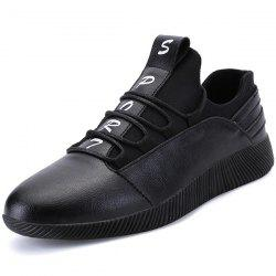 Faux Leather Panel SPORT Print Casual Shoes -