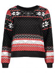 Stylish Round Collar Ethnic Snowflakes Print Thicken Long Sleeve Sweatshirt For Women