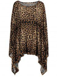 Leopard Print 1/2 Batwing Sleeve Asymmetric Plus Size Dress - LEOPARD