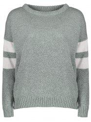 Casual Round Collar Color Block Long Sleeves Pullover Sweater For Women - GRAY ONE SIZE