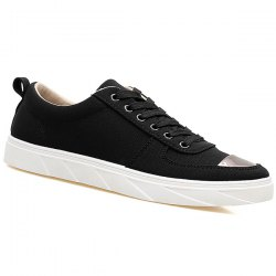 Metal Insert Lace Up Canvas Shoes - BLACK