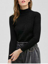 Pullover Mock Neck Ribbed Sweater