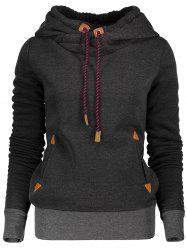 Stylish Hooded Long Sleeve Spliced Women's Pullover Hoodie - BLACK