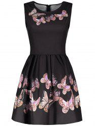 Vintage Round Collar Sleeveless Butterflies Print Women's Ball Gown Dress - BLACK