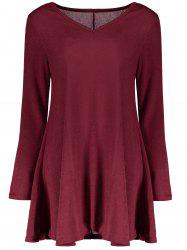 Fresh Style V-Neck Long Sleeve Dress - WINE RED