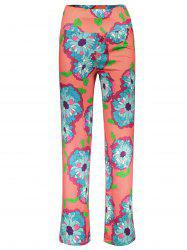 Fashionable Elastic Waist Floral Print Loose-Fitting Women's Exumas Pants - ORANGE