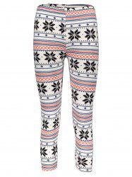 Stylish Women's High Waist Geometrical Print Color Block Leggings - COLORMIX