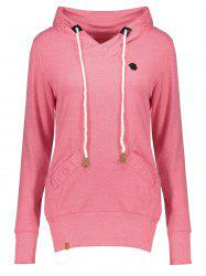 Stylish Hooded Long Sleeve Drawstring Pocket Design Women's Hoodie -