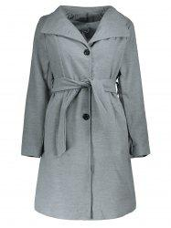 Stylish Stand Collar Long Sleeve Pure Color Self-Tie Coat For Women -