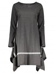 Stylish Round Neck Long Sleeve Spliced Asymmetrical Women's Dress - GRAY