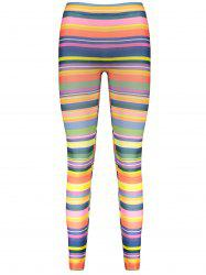 Colorful Print High Elasticity Straight Leg Women's Leggings - COLORMIX