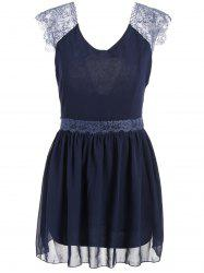 Trendy Style Sleeveless Lace Splicing Solid Color Backless Women's Dress - BLUE