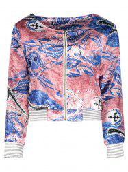 Ethnic Scoop Neck Long Sleeve Print Loose-Fitting Jacket For Women -