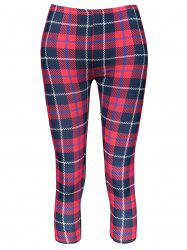Trendy Plaid Bodycon Elastic Waist Women's Leggings - RED