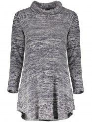 Chic Cowl Neck Long Sleeve Asymmetrical Women's Knitted Dress - GRAY