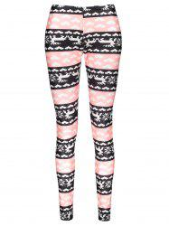 Fashionable High Waist Color Block Heart Printed Bodycon Leggings For Women - COLORMIX