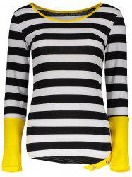 Stylish Scoop Neck Long Sleeve Color Block Striped Women's T-Shirt