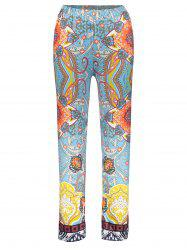 Retro Style Elastic Waist Floral Print Exumas Pants For Women - COLORMIX