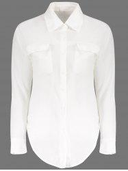 Loose Long Sleeeve Turn Down Collar Solid Color Women's Blouse - WHITE