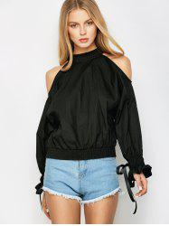 Ruff Collar Cold Shoulder Blouse