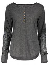 Casual Scoop Neck Lace Splicing Long Sleeve T-Shirt For Women