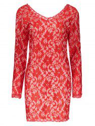 Lace Plunging Neckline Long Sleeve Backless Dress - RED