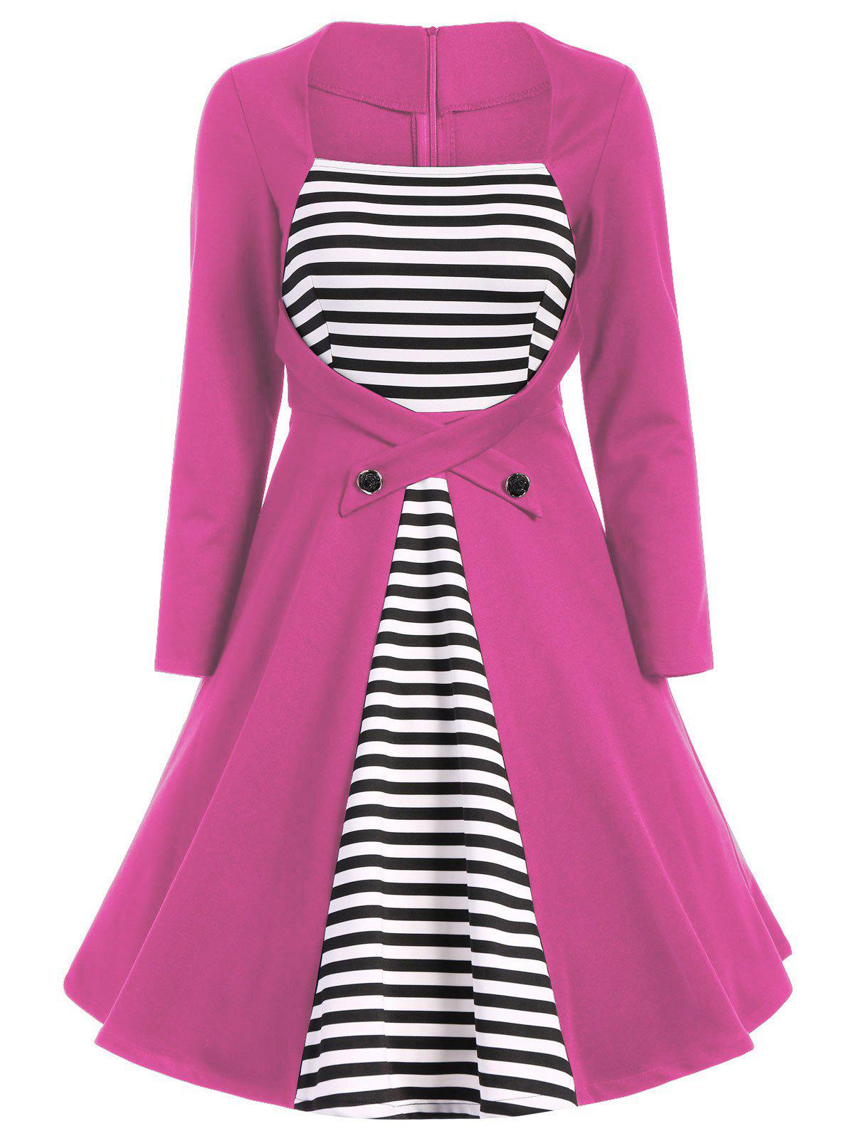 Outfits Plus Size Square Collar Striped Skater Dress with Long Sleeves