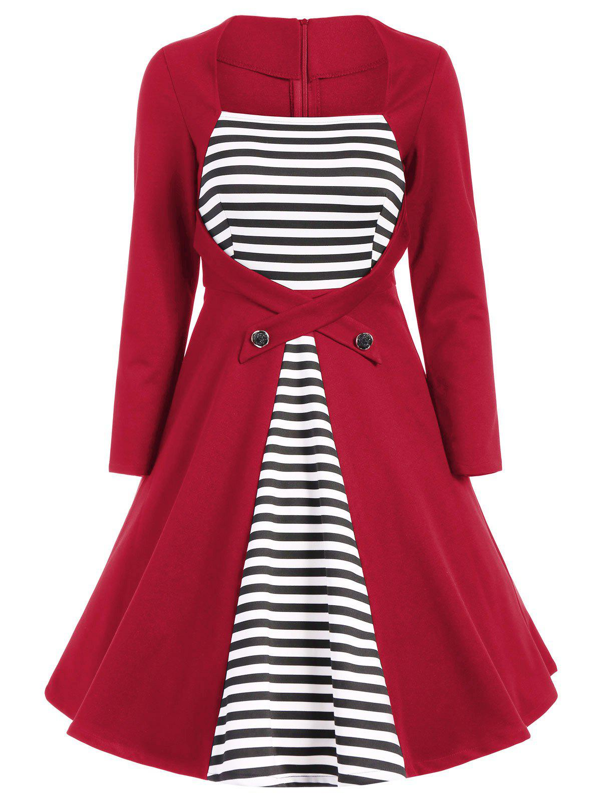 Trendy Plus Size Square Collar Striped Skater Dress with Long Sleeves