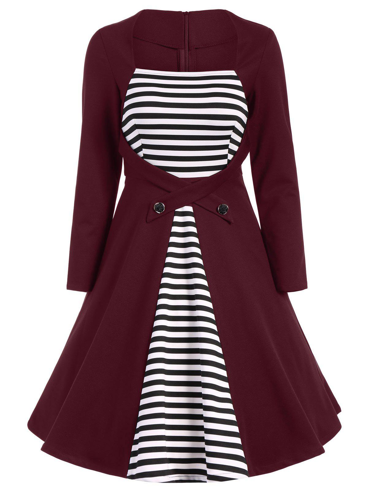 Best Plus Size Square Collar Striped Skater Dress with Long Sleeves